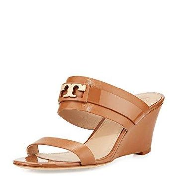 Tory Burch Gigi Leather Two-Band Slide Wedge Sandal (Royal Tan)