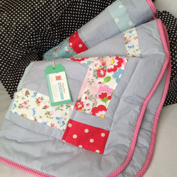 Cath Kidston~ handmade patchwork quilt~ girl quilt~ pink~ cot quilt~ grey gray~ flowers spots~ modern baby quilt~ abstract~ baby shower gift