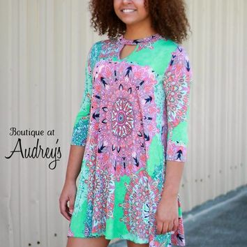 Mint Kaleidoscope Print Dress with Keyhole Neckline