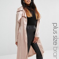 Missguided Plus Satin Trench Coat