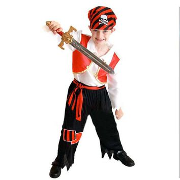 Boy Pirate Cosplay Costume Fancy Dress Buccaneer Cosplay Outfit Halloween Children'Day Performance Costumes