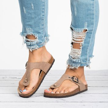 Bork Thong Sandals - Taupe