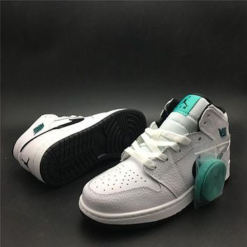 Air Jordan 1 Mid Mint Green basketball shoes/ 554725-122 kaat
