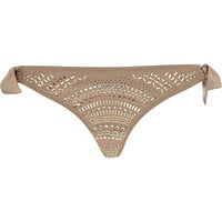 River Island Womens Gold studded bikini brief