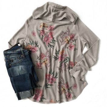 Gray Floral Hooded Top