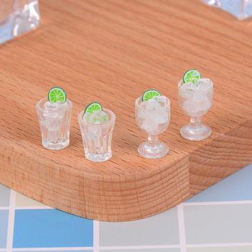 2Pcs Doll House Decor Mini Glass Cup + Ice Cube Simulation Goblet Cup Model Toy Dollhouse Toy Model Miniature Food