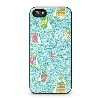 lilly pulitzer sailboat iphone 5 5s se case cover  number 1