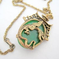 Asian Dragon Necklace Green Faceted Lucite Cabachon