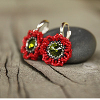 Swarovski crystal dangle earrings, green crystal and red seed beads earrings, dangle beadwork earrings, flower earring, sterling silver