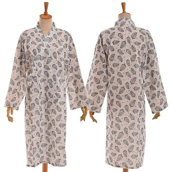 Vintage Japanese Men Leaves Pattern Kimono Yukata Sleeping Haori Bathrobe