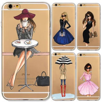 Phone Cases for iphone 6 6s Plus 6Plus 4 4s 5c 5 5s SE Soft Slim TPU Transparent Cartoon Modern Sexy Girls Pattern Case Cover