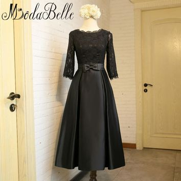 Modabelle Tea Length Dress Black Muslim Bridesmaid Dresses Long Lace Maid Of Honor Gowns With 3/4 Sleeve Wedding Party Dresses