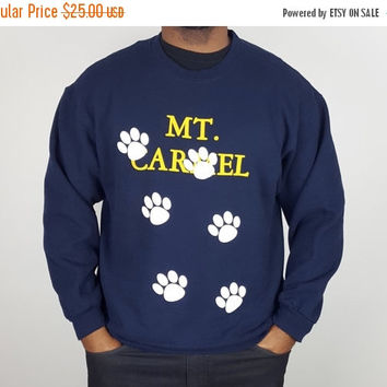 SALE XL Vintage Dog Paw Crew Neck Sweatshirt Navy Blue / Mt Carmel Souvenir Sweatshirt / Dog Paw Pattern Shirt / 90s Sweatshirt / Dog Lover