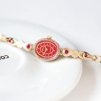 Red face cocktail watch bracelet Seagull, unused oval lady watch vintage, evening wristwatch jewelry gift for women, gold shade petite watch