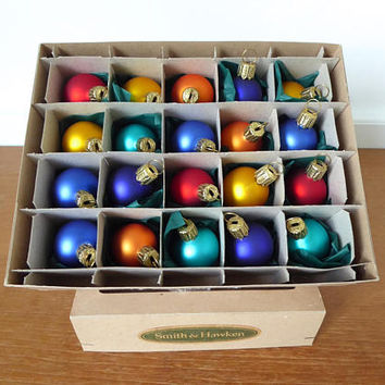 Smith and Hawken small satin finish glass ornaments, set of 20 jewel tone