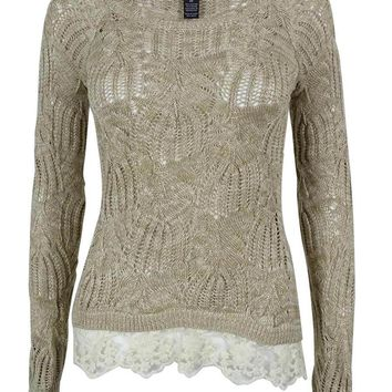 INC International Concepts Women's Marled Open Knit Sweater