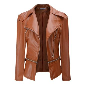 Sisjuly Faux Leather Jackets Women Biker Jacket Autumn Winter Army Green Khaki Black Brown Zipper PU Coat Motorcycle Outerwear