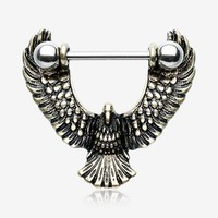 A Pair of Antique Golden Flying Eagle Nipple Shield Ring