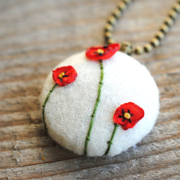 Holiday Jewelry woodland red poppy necklace with green by stoastn