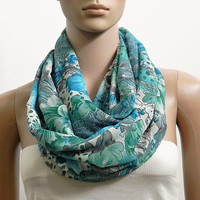 Floral Infinity Scarf Shawl Soft Blue Fashion Scarves for Women Circle Cowl Scarf Long Tube Scarf Loop Summer Scarf Gift for her Handmade