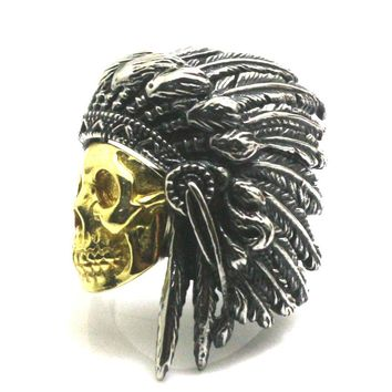 Newest Mens / Boys Stainless Steel Cool Native American Indian Ring