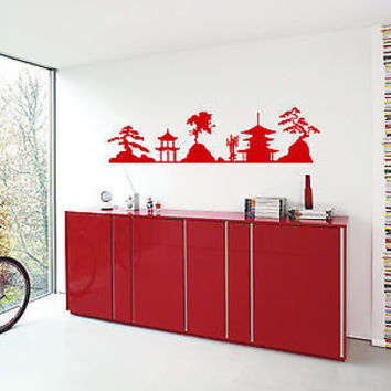 WALL VINYL STICKER  DECALS ART MURAL CHINESE JAPANESE PAGODA TEMPLE T040