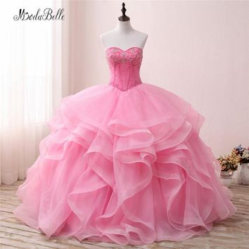 modabelle Vintage Sweetheart Beaded Ball Gown Quinceanera Dresses Pink Ruffles Organza Vestidos Debutante Party Dress 2018