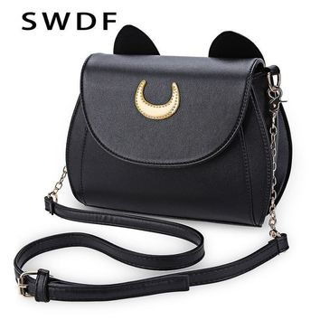 Women Cute Cat detailed Patent Leather Cross Body Bag