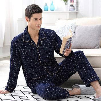 CherLemon Spring & Autumn Mens Cotton Long Sleeve Pajamas Classic Polka Dot Male Pyjama Set Nightdress Navy Blue