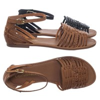 Candle Woven Fisherman Huaraches Flat Peep Toe Sandal, Strappy Cage Gladiators
