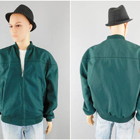 1980s Vintage Windbreaker Jacket / Cal Craft Jacket / Made in USA / Green Casual Jacket / Golf Jacket / Lined / Size XL 44-46 / Preppy Look