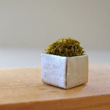Wearable Planter Moss Green Cube Necklace by Nafsika on Etsy