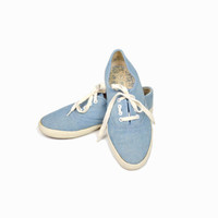 Vintage Blue Chambray Denim Sneakers - 7