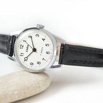 Vintage women's watch black white Dawn, lady's watch classic, woman wristwatch gift, retro simplicity woman watch, genuine leather strap new