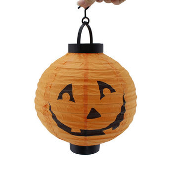 Halloween Decoration LED Paper Pumpkin Light Hanging Lantern Lamp Halloween Props Outdoor Party Supplies For Home&Party Decors