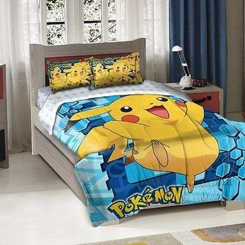 Nintendo Pokemon Twin/Full Comforter Pillow Sham Set