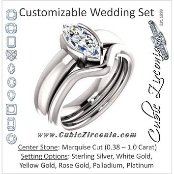 CZ Wedding Set, featuring The Charlotte engagement ring (Customizable Bezel-set Marquise Cut Solitaire with Thick Band)
