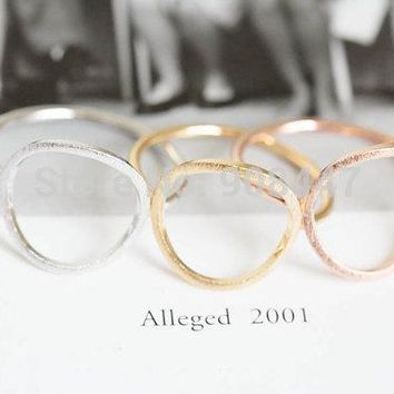 SMJEL 2016 Simple Open Round Rings Brushed Circle Women Rings Trendy Alloy Round Party Wedding Bands Rings R027