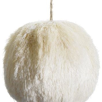 "5.5"" Snow Drift Glitter Frosted Cream Natural Sisal Christmas Ball Ornament"