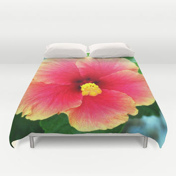 Yellow Pink Hibiscus - Duvet Cover, Beach Floral Bedding, Hawaiian Tropical Boho Surf Decor Bed Blanket Throw. In Full / Queen / King Size