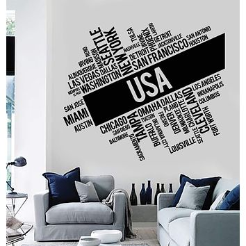Vinyl Wall Decal USA Cities Abstract Map United States Stickers Murals Unique Gift (ig4794)