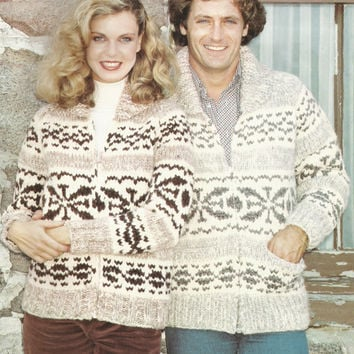 White Buffalo Pattern #14.   Cowichan Salish style sweater, Wool cardigan, Adult, Native Canadian, hippy, West coast, stranded his and hers