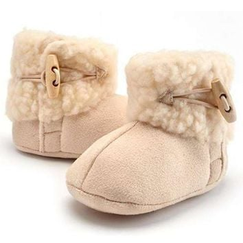 Newborn Infant Baby Girl Snow Boots Booties Kids Princess Round Toe Cotton White Lovel