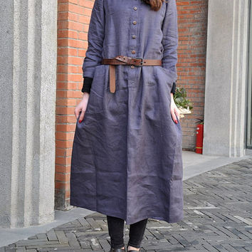 Linen Long Dress Gown in Gray Purple Made to order by camelliatune