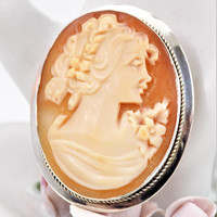 Sterling Cameo Brooch Pendant, Carved Shell, Made in Italy, Vintage Brooches