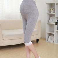 New Women Spring Maternity Leggings Capris Clothes for Pregnant Women ShortsThin High Waist Modal Pregnancy Lace Short Trousers