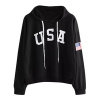 Women Letter USA Flag Printed Hoodie Autumn Long Sleeve Pullover Sweatshirt Drawstring Hoody Jumper #BF