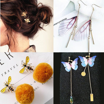 Fashion little bee hairpin  bee Bee's yellow hair ball ear nail Butterfly wing earring Sweet butterfly wing crystal earrings  A PAir For Four Pieces(Bee hairpin+Bee earrings+Butterfly earring+Wing earring)