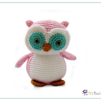 Crochet Pink Teal Owl Amigurumi Bird Plushie  Animal Stuffed Toy - READY TO SHIP