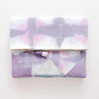 SUNSET 70 / Shibori dyed cotton & Natural leather folded clutch bag - Ready to Ship